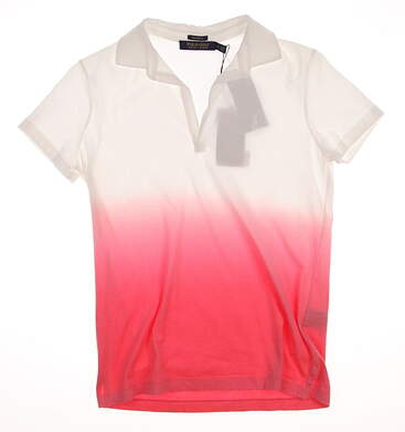 New Womens Ralph Lauren Polo Golf Tailored Fit Cotton Color Fade Polo Medium M Multi (White / Red) Neon Rose MSRP $98