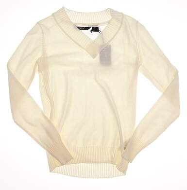 New Womens Abacus Golf Ives Pullover Sweater Small S White MSRP $75 4398