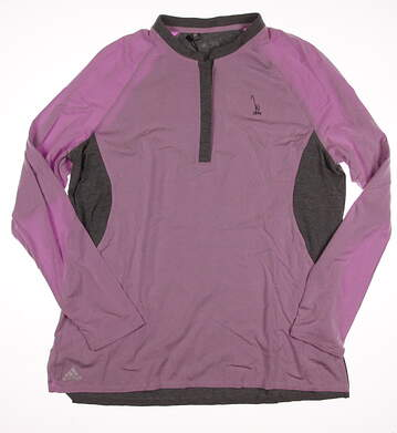 New W/ Logo Womens Adidas Golf Long Sleeve Crew Neck X-Large XL Purple MSRP $75