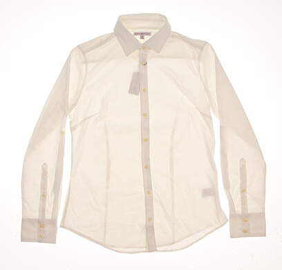 New Womens Peter Millar Button Up Small S White MSRP $90
