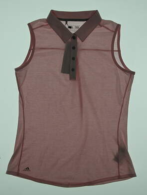 New Womens Adidas Essential Heather Sleeveless Golf Polo Medium M Pink MSRP $50