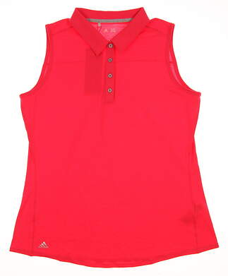 New Womens Adidas Essential Heather Sleeveless Golf Polo Large L Red MSRP $50