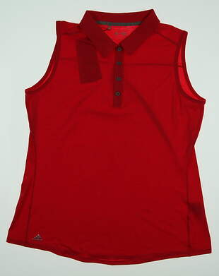 New Womens Adidas Essential Heather Sleeveless Golf Polo X-Large XL Red MSRP $50