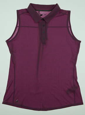 New Womens Adidas Essential Heather Sleeveless Polo Medium M Purple MSRP $50