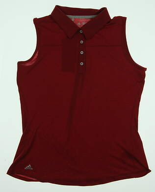 New Womens Adidas Heather Sleeveless Golf Polo Large L Red MSRP $50