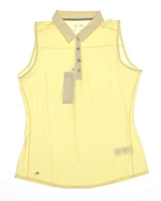 New Womens Adidas Essential Heather Sleeveless Golf Polo Small S Yellow MSRP $50
