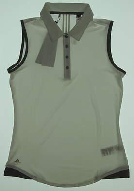 New Womens Adidas 3-Stripe Sleeveless Golf Polo Small S White MSRP $55
