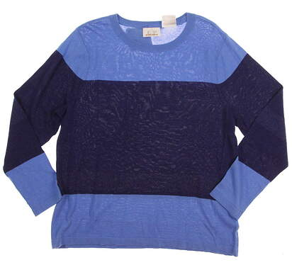 New Womens EP Pro Golf Kings Landing Crew Neck Color Block Sweater Large L Blue MSRP $88 4240GD