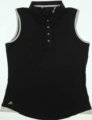 New Womens Adidas 3-Stripe Sleeveless Golf Polo Large L Black MSRP $55