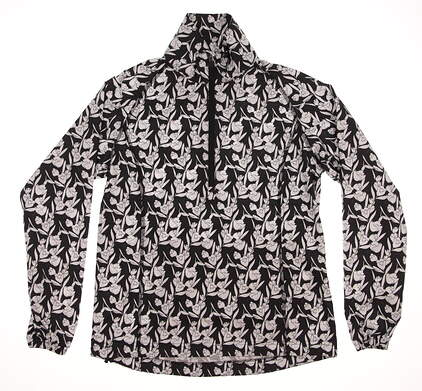 New Womens Peter Millar Golf Dot Floral Packable Wind Breaker X-Small XS Black / White MSRP $100 LS16EZ20C