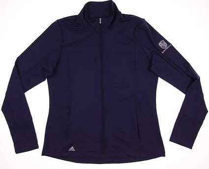 New W/ Logo Womens Adidas Golf Advance Rangewear Full Zip Mock Neck Jacket Large L Purple (Deep Blue) MSRP $75 AE4567