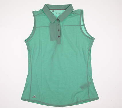 New Womens Adidas Golf Climalite Essentials Heatered Sleeveless Polo Medium M Green MSRP $50 AE5216