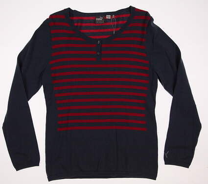 New Womens Puma Golf Scoopneck Sweater Large L Bering Sea MSRP $75 570546 01