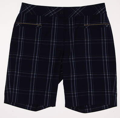New Womens EP Pro Golf Kings Landing Plaid Shorts Size 8 Blue MSRP $84 8241GD