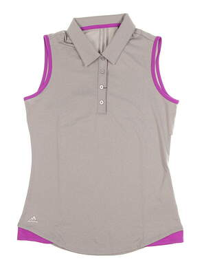 New Womens Adidas Golf Sleeveless Polo Small S Gray MSRP $60