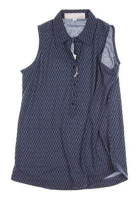 New Womens Heather Grey Julia Sleeveless Polo X-Small XS Flint Stone / Navy Blue MSRP $55 915440405