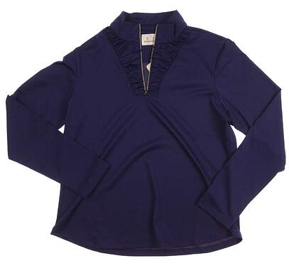 New Womens EP Pro Golf Kings Landing Tour Tech Long Sleeve Mock 1/4 Zip Pullover Small S Blue (Royalty) MSRP $88 5241GD
