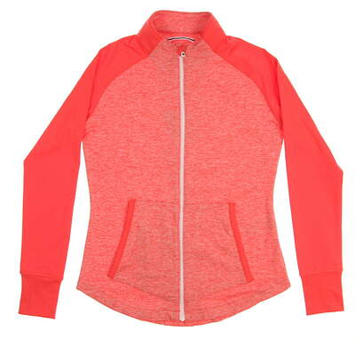 New Womens Footjoy Golf Full Zip Brushed Back Spacedye Mid Layer Mock Neck Small S Orange MSRP $115 22326
