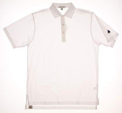 New W/ Logo Mens Peter Millar Golf Polo Medium M White MSRP $89