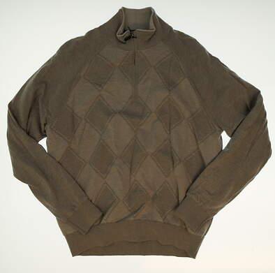 New W/ Logo Mens Fairway & Greene Birdseye Argyle 1/4 Zip Sweater Medium M Gray MSRP $183