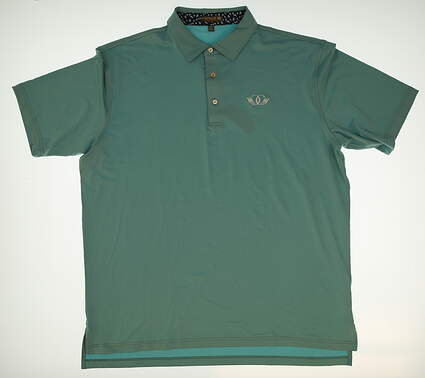 New W/ Logo Mens Peter Millar Golf Solid Stretch Jersey Polo With Contrast Trim X-Large XL Blue MSRP $85 MF16EK26S