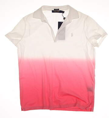 New Womens Ralph Lauren Polo Golf Tailored Fit Cotton Color Fade Polo Large L Multi (White / Red) Neon Rose MSRP $98