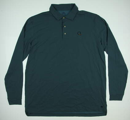 New W/ Logo Mens Peter Millar Golf Long Sleeve Polo Large L Blue MSRP $88