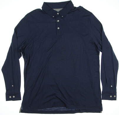 New Mens Ashworth Golf Long Sleeve Polo X-Large XL Navy Blue MSRP $80