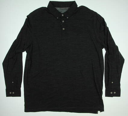New Mens Ashworth Golf Long Sleeve Polo X-Large XL Gray MSRP $80