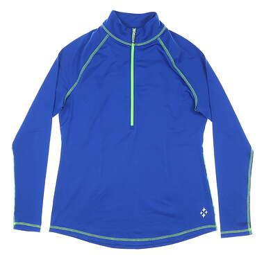 New Womens Jo Fit Jacquard Long Sleeve Mock Medium M Cobalt MSRP $84