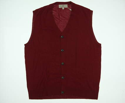New Mens Fairway & Greene Golf Cardigan Large L Red MSRP $150