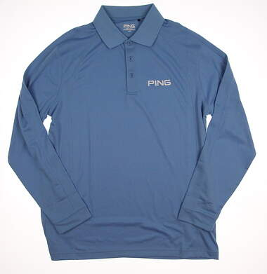New Mens Ping Golf Long Sleeve Polo Large L Blue MSRP $60