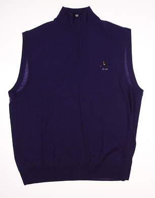 New W/ Logo Mens Ralph Lauren Golf Sweater Vest Large L Purple MSRP $151