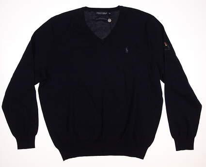 New W/ Logo Mens Ralph Lauren Golf Sweater X-Large XL Blue MSRP $106