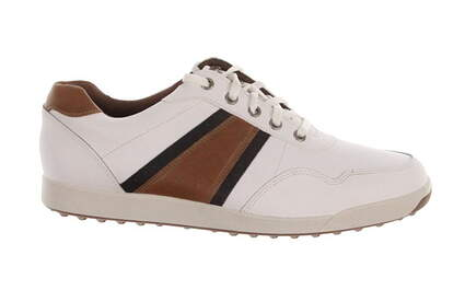 New Mens Golf Shoe Footjoy Contour Casual 9.5 White/Brown MSRP $140