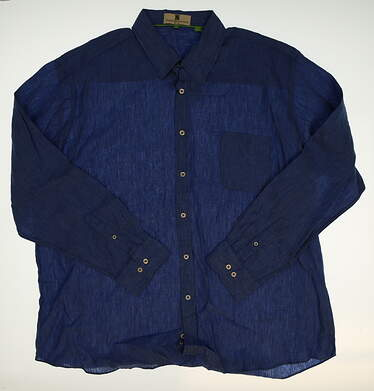 New Mens Ashworth Golf Button Up XX-Large XXL Blue MSRP $109