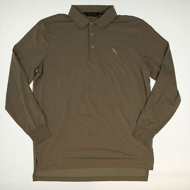 New W/ Logo Mens Ralph Lauren Golf Long Sleeve Polo Large L Gray MSRP $105