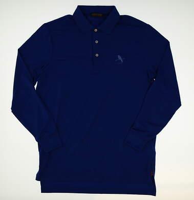 New W/ Logo Mens Ralph Lauren Golf Long Sleeve Polo Medium M Blue MSRP $105