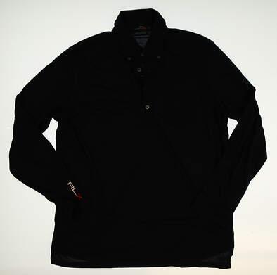 New W/ Logo Mens Ralph Lauren Long Sleeve Golf Polo Large L Blue MSRP $100