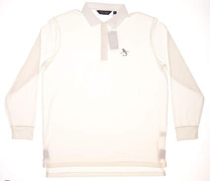 New W/ Logo Mens Ralph Lauren Long Sleeve Golf Polo X-Large XL White MSRP $105