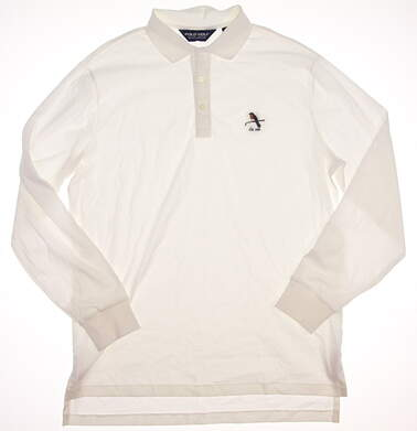 New W/ Logo Mens Ralph Lauren Long Sleeve Golf Polo Large L White MSRP $105