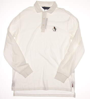 New W/ Logo Mens Ralph Lauren Long Sleeve Golf Polo Large L White MSRP $103
