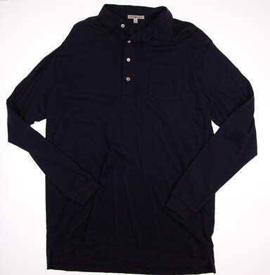 New W/ Logo Mens Peter Millar Long Sleeve Golf Polo Large L MSRP $95