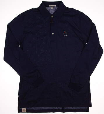 New W/ Logo Mens Peter Millar Long Sleeve Golf Polo Medium M Blue MSRP $90