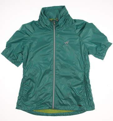 New W/ Logo Womens SUNICE Short Sleeve Golf Rain Jacket Small S Green MSRP $100