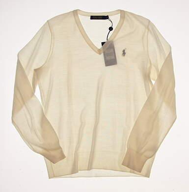 New Womens Ralph Lauren Polo Golf V-Neck Merino Sweater Large L Cream MSRP $145