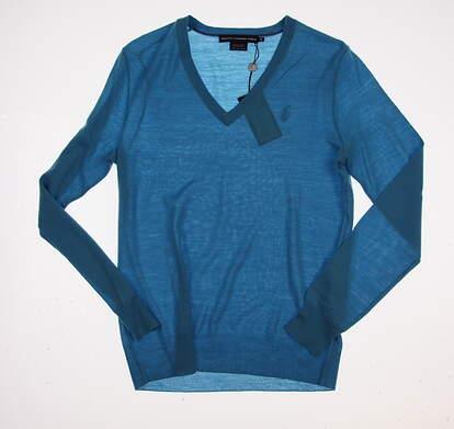 New Womens Ralph Lauren Golf V-Neck Wool Sweater Medium M Blue MSRP $145