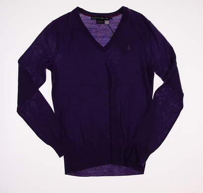 New Womens Ralph Lauren Golf V-Neck Wool Sweater Small S Purple MSRP $145