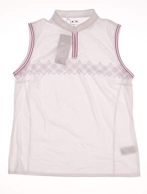 New Womens Adidas Sleeveless Golf Polo Large L White MSRP $65