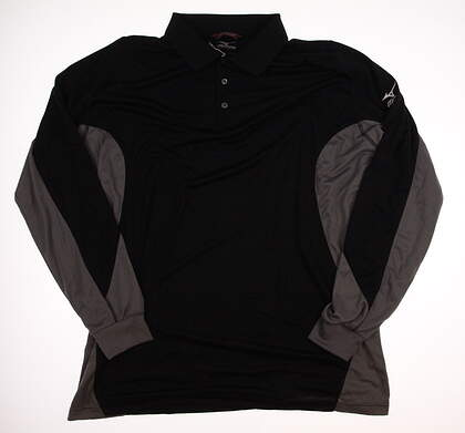 New Mens Mizuno Long Sleeve Golf Polo Large L Black MSRP $88